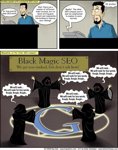 El mágico ritual negro sobre SEO, Humor