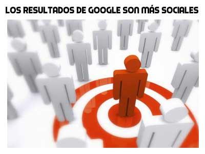 los resultados de google son mas sociales