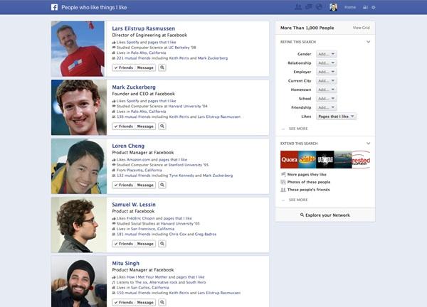 sistema de búsquedas de Facebook Graph Search.