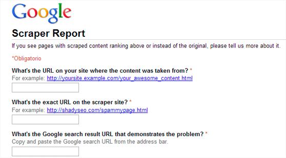 Google reportar Spam
