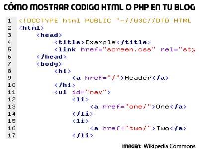 cómo mostrar código html o php en tus artículos