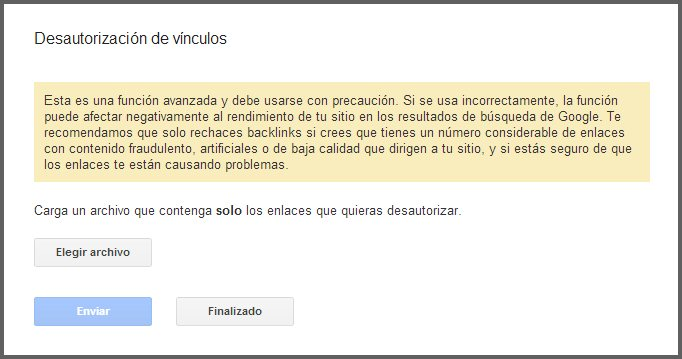 Desautorizar enlaces en Google