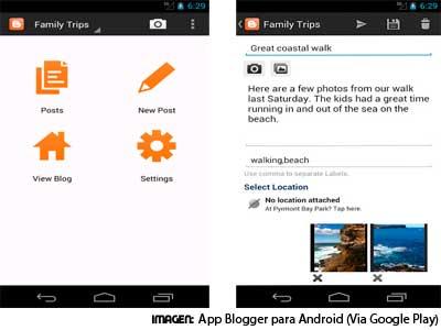 Aplicación móvil de Blogger para Android