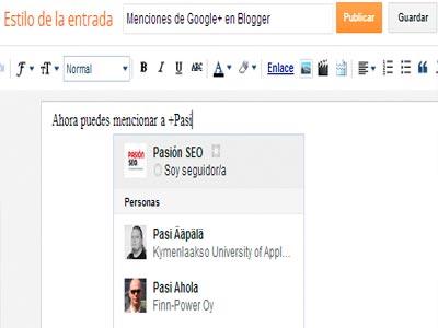 Mencionar personas de Google+ en Blogger