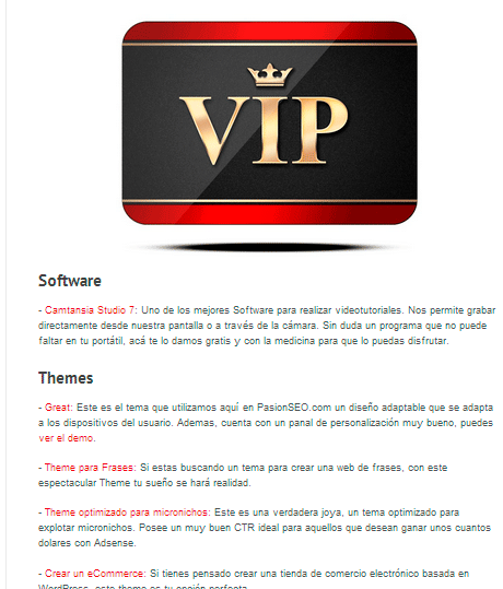 Sección VIP en PasionSEO