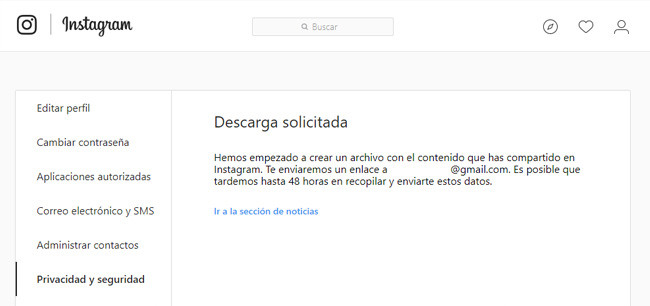 descarga solicitada de backup en isntagram