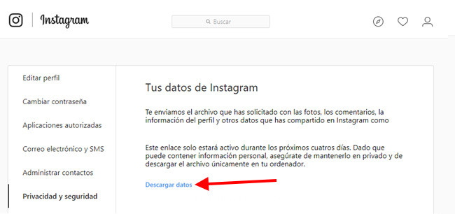 tus datos de instagram de backup